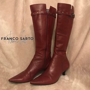 Franco Sarto Buckle Knee High Kitten Heel Boots